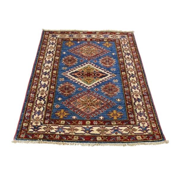 "Shahbanu Rugs Denim Blue Super Kazak Hand-Knotted Pure Wool Oriental Rug (2'9"" x 3'10"") - 2'9"" x 3'10"""
