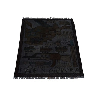 "Shahbanu Rugs Pure Wool Overdyed Hand-Knotted Afghan War Tanks and Guns Rug (2'0"" x 2'6"") - 2'0"" x 2'6"""