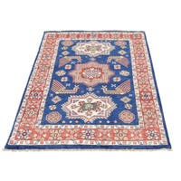 """Shahbanu Rugs Hand-Knotted Pure Wool Navy Blue Special Kazak Oriental Rug (3'2"""" x 4'9"""") - 3'2"""" x 4'9"""""""