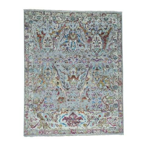 "Shahbanu Rugs Oxidized Wool and Sari Silk Ancient Mughal Design Oriental Rug (8'0"" x 9'10"") - 8'0"" x 9'10"""