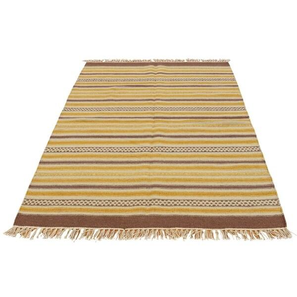 "Shahbanu Rugs Striped Flat Weave Durie Kilim Hand Woven Reversible Rug (3'10"" x 6'0"") - 3'10"" x 6'0"""