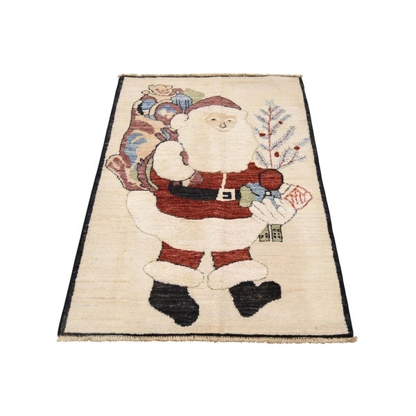 "Shahbanu Rugs Hand-Knotted Pure Wool Santa Claus Peshawar Quality Rug (2'3"" x 3'10"") - 2'3"" x 3'10"""