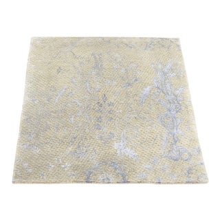"Shahbanu Rugs Modern Broken Design Wool and Silk Hand Knotted Square Rug (2'0"" x 2'1"") - 2'0"" x 2'1"""