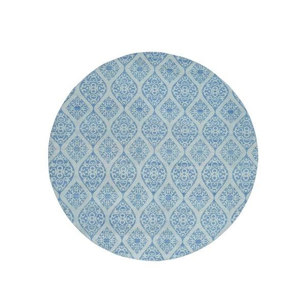 "Shahbanu Rugs Hand-Woven Flat Weave Reversible Kilim Round Oriental Rug (9'9"" x 9'9"") - 9'9"" x 9'9"""