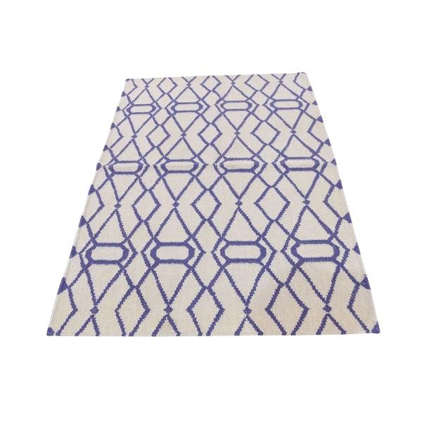 "Shahbanu Rugs Pure Wool Hand Woven Flat Weave Reversible Durie Kilim Rug (3'1"" x 5'2"") - 3'1"" x 5'2"""