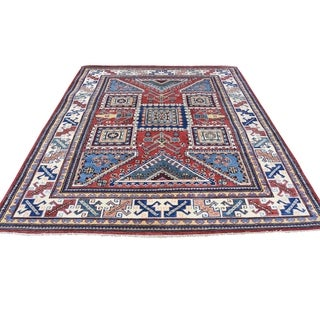 """Shahbanu Rugs Hand-Knotted Pure Wool Red Special Kazak Oriental Rug (5'0"""" x 6'5"""") - 5'0"""" x 6'5"""""""