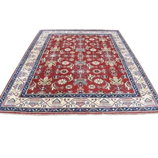 """Shahbanu Rugs Red Special Kazak Hand-Knotted Pure Wool Oriental Rug (5'0"""" x 6'2"""") - 5'0"""" x 6'2"""""""