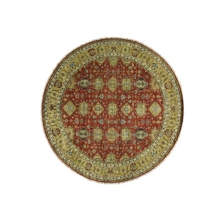"Shahbanu Rugs Hand-Knotted Round Karajeh Pure Wool Oriental Rug (9'10"" x 9'10"") - 9'10"" x 9'10"""