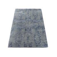 "Shahbanu Rugs Wool and Silk Hand-Loomed Abstract Design Tone on Tone Oriental Rug (2'0"" x 3'0"") - 2'0"" x 3'0"""