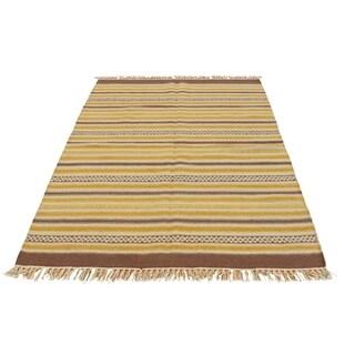 "Shahbanu Rugs Hand Woven Striped Durie Kilim Reversible Flat Weave Rug  (2'10"" x 5'0"") - 2'10"" x 5'0"""