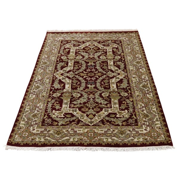 "Shahbanu Rugs Wool and Silk Tabriz Design 300 Kpsi Hand Knotted Oriental Rug (3'0"" x 5'1"") - 3'0"" x 5'1"""