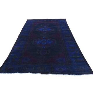 "Shahbanu Rugs Hand-Knotted Vintage Overdyed Persian Bakhtiari Worn Oriental Rug (4'8"" x 8'7"") - 4'8"" x 8'7"""