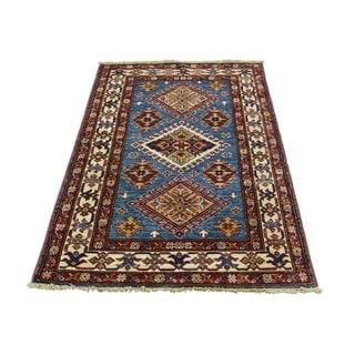"Shahbanu Rugs Hand Knotted Pure Wool Sky Blue Super Kazak Oriental Rug (2'9"" x 4'2"") - 2'9"" x 4'2"""