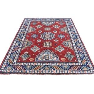 "Shahbanu Rugs Hand-Knotted Red Special Kazak Geometric Design Oriental Rug (5'0"" x 6'7"") - 5'0"" x 6'7"""