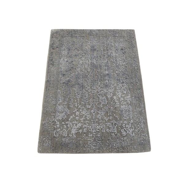 "Shahbanu Rugs Tone on Tone Wool and Silk Abstract Design Hand-Loomed Oriental Rug (2'0"" x 2'10"") - 2'0"" x 2'10"""