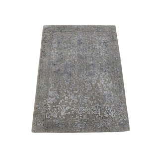 "Shahbanu Rugs Hand-Loomed Wool and Silk Abstract Design Tone on Tone Oriental Rug (2'0"" x 2'10"") - 2'0"" x 2'10"""