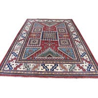 """Shahbanu Rugs Hand-Knotted Pure Wool Red Special Kazak Oriental Rug (5'0"""" x 6'9"""") - 5'0"""" x 6'9"""""""