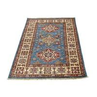 "Shahbanu Rugs Super Kazak Sky Blue Tribal Design Hand-Knotted Oriental Rug (2'8"" x 4'0"") - 2'8"" x 4'0"""
