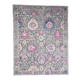 """Shahbanu Rugs Sari Silk With Oxidized Wool Hand Knotted Oushak Influence Runner Rug (8'1"""" x 10'2"""") - 8'1"""" x 10'2"""""""