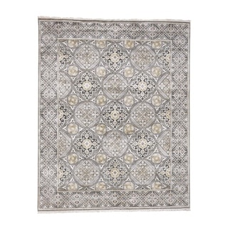 """Shahbanu Rugs Hand Knotted Oxidized Wool and Silk Mughal Inspired Medallions Design (8'10"""" x 11'10"""") - 8'10"""" x 11'10"""""""
