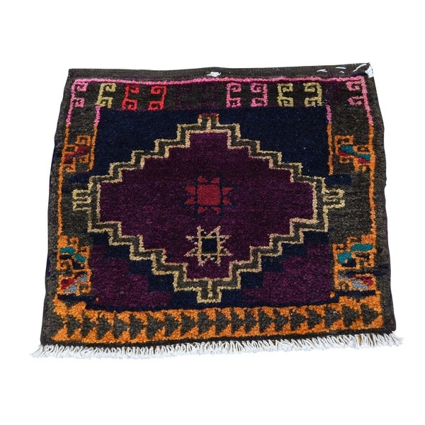 "Shahbanu Rugs Square Persian Shiraz Bag Face Pure Wool Hand Knotted Oriental Rug (1'7"" x 1'9"") - 1'7"" x 1'9"""