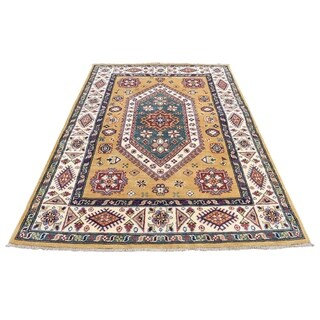 """Shahbanu Rugs Gold Hand Knotted Pure Wool Special Kazak Oriental Rug (4'0"""" x 5'7"""") - 4'0"""" x 5'7"""""""