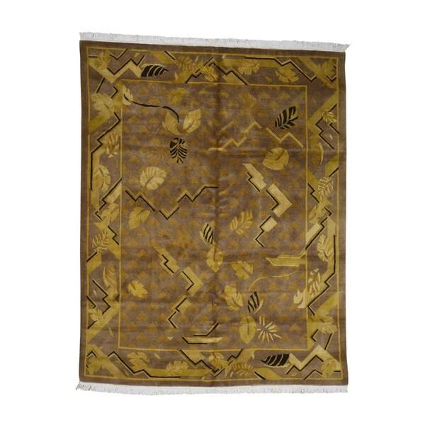 "Shahbanu Rugs Hand Knotted Pure Wool Gold Tibetan Oriental Rug (7'8"" x 9'7"") - 7'8"" x 9'7"""