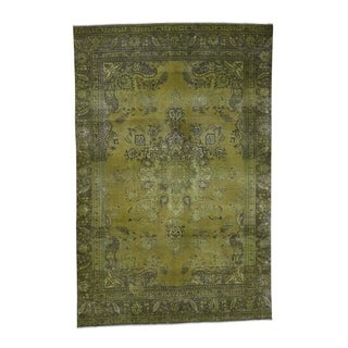 """Shahbanu Rugs Light Green Vintage Overdyed Persian Tabriz Hand Knotted Rug (7'1"""" x 11'0"""") - 7'1"""" x 11'0"""""""