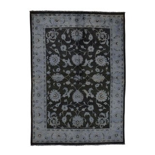 """Shahbanu Rugs Overdyed Peshawar Hand Knotted Pure Wool Oriental Rug (5'0"""" x 7'0"""") - 5'0"""" x 7'0"""""""