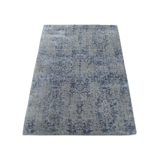 "Shahbanu Rugs Hand-Loomed Tone on Tone Abstract Design Wool and Silk Oriental Rug (2'0"" x 3'0"") - 2'0"" x 3'0"""