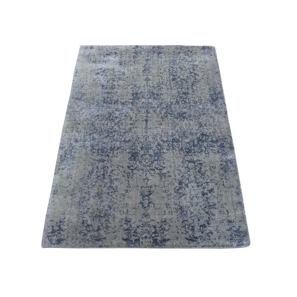 "Shahbanu Rugs Hand-Loomed Tone on Tone Abstract Design Wool and Silk Oriental Rug (2'0"" x 3'0"") - 2'0"" x 3'0"""