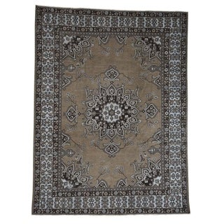 "Shahbanu Rugs Undyed Natural Wool Persian Baktiari Worn Oriental Rug (9'6"" x 12'6"") - 9'6"" x 12'6"""