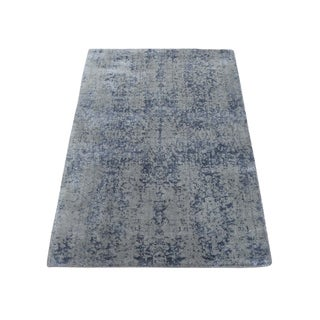 "Shahbanu Rugs Abstract Design Tone on Tone Wool and Silk Hand-Loomed Oriental Rug (2'0"" x 3'0"") - 2'0"" x 3'0"""