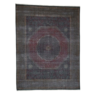 "Shahbanu Rugs Vintage Look Mamluk Zero Pile Shaved Low Worn Wool Rug (9'1"" x 11'10"") - 9'1"" x 11'10"""