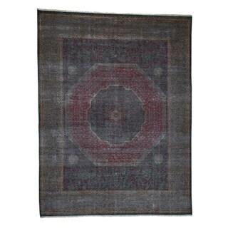 "Shahbanu Rugs Vintage Look Mamluk Zero Pile Shaved Low Worn Wool Rug (9'1"" x 11'10"") - 9'1"" x 11'10"""