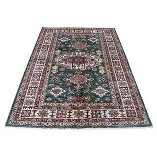 "Shahbanu Rugs Super Kazak Pure Wool Geometric Design Hand-Knotted Oriental Rug (4'2"" x 5'10"") - 4'2"" x 5'10"""