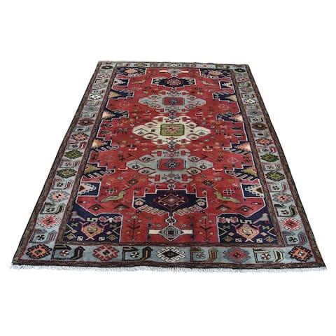 "Shahbanu Rugs Pure Wool Hand-Knotted New Persian Hamadan Oriental Rug (4'4"" x 6'5"") - 4'4"" x 6'5"""