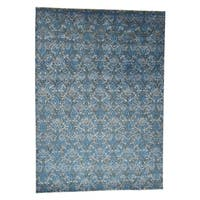 """Shahbanu Rugs Tone On Tone Damask Design Wool and Silk Hand-Knotted Oriental Rug (10'0"""" x 14'2"""") - 10'0"""" x 14'2"""""""