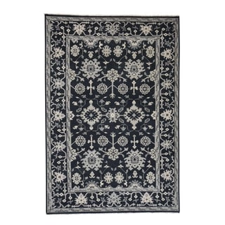 """Shahbanu Rugs Oushak Turkish Knot Cropped Thin Midnight Blue Hand Knotted Rug (6'1"""" x 9'0"""") - 6'1"""" x 9'0"""""""