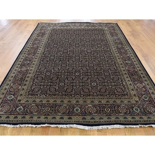 "Shahbanu Rugs Herati Design Pure Wool Tabriz Mahi Hand-Knotted Oriental Rug (6'1"" x 9'0"") - 6'1"" x 9'0"""