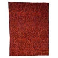 """Shahbanu Rugs Hand Knotted Overdyed Ikat Design Pure Wool Oriental Rug (9'1"""" x 12'2"""") - 9'1"""" x 12'2"""""""