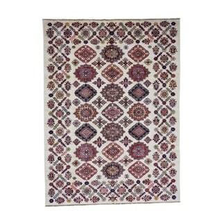 "Shahbanu Rugs Hand-Knotted Super Kazak Caucasian Design Pure Wool Oriental Rug (6'3"" x 8'5"") - 6'3"" x 8'5"""