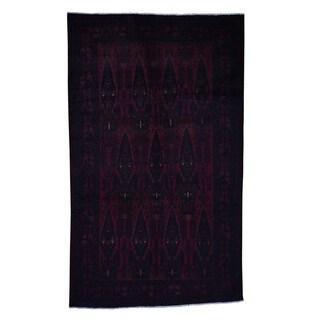 "Shahbanu Rugs Red Afghan Baluchi Pure Wool Hand Knotted Oriental Rug (6'2"" x 10'2"") - 6'2"" x 10'2"""