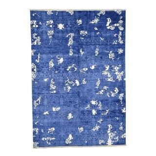 "Shahbanu Rugs Hand-Knotted Tone on Tone Modern Wool and Silk Oriental Rug (6'2"" x 8'10"") - 6'2"" x 8'10"""
