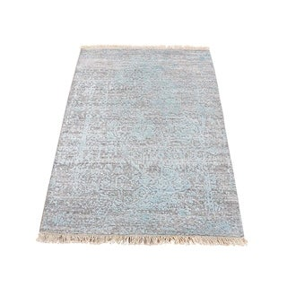 "Shahbanu Rugs Wool And Silk Hand-Knotted Broken Persian Design Oriental Rug (2'0"" x 3'0"") - 2'0"" x 3'0"""