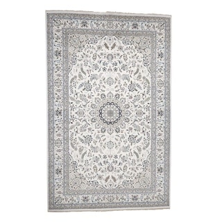 "Shahbanu Rugs Hand-Knotted Wool and Silk 250 Kpsi Ivory Nain Oversize Oriental Rug (11'7"" x 18'2"") - 11'7"" x 18'2"""