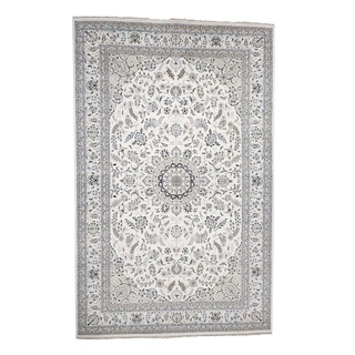 """Shahbanu Rugs Hand-Knotted Wool and Silk 250 Kpsi Ivory Nain Oversize Oriental Rug (11'7"""" x 18'2"""") - 11'7"""" x 18'2"""""""