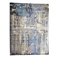 """Shahbanu Rugs Abstract Design Wool and Silk Hi-Lo Pile Hand-Knotted Oriental Rug (10'0"""" x 13'8"""") - 10'0"""" x 13'8"""""""