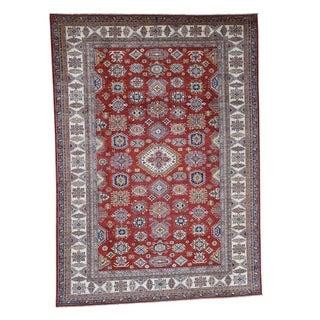 "Shahbanu Rugs Hand-Knotted Pure Wool Red Super Kazak Geometric Design Oriental Rug (9'0"" x 12'4"") - 9'0"" x 12'4"""