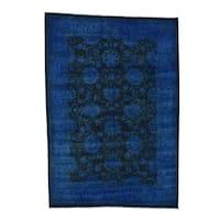 "Shahbanu Rugs Overdyed Peshawar Mahal Pure Wool Hand-Knotted Oriental Rug (6'0"" x 9'0"") - 6'0"" x 9'0"""